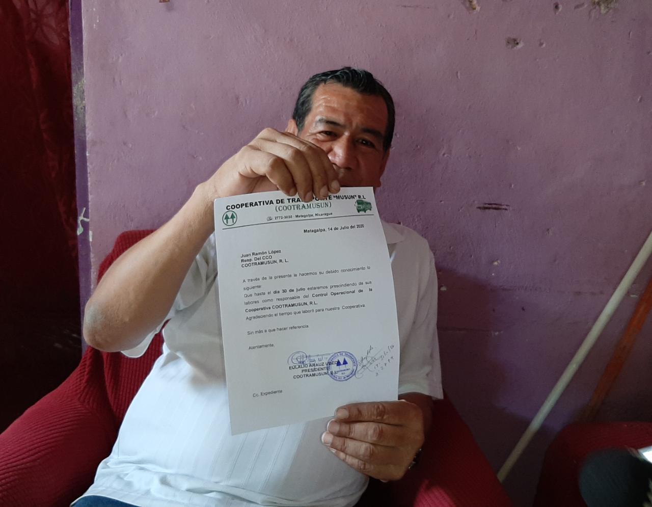 Juan Ramón López recibe notificación para prescindir a sus servicios en Matagalpa